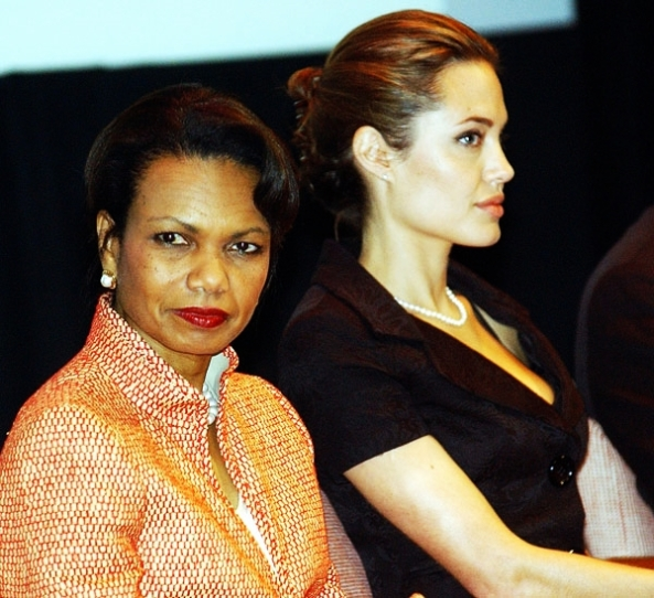 Secretary of State Condoleezza Rice and Jolie at World Refugee Day in 2005