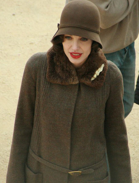 Jolie as Christine Collins on the set of Changeling in 2007