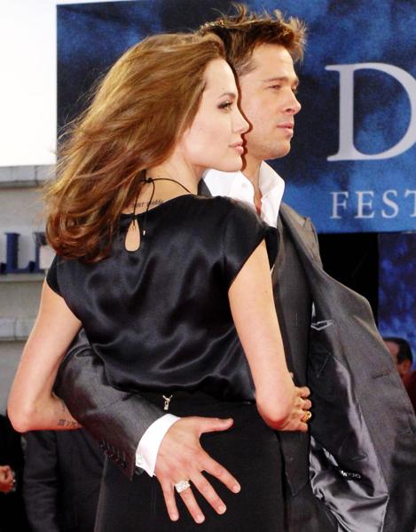 Jolie and her partner Brad Pitt at the Deauville premiere of The Assassination of Jesse James in 2007