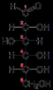 Bentuk rantai D-Glukosa.