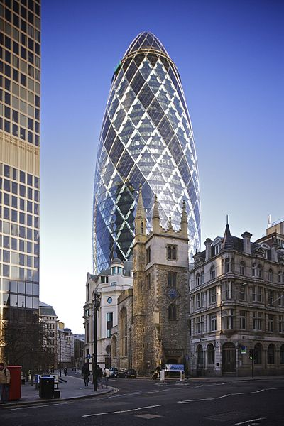30 St Mary Axe, also known as the Gherkin, towers over St Andrew Undershaft
