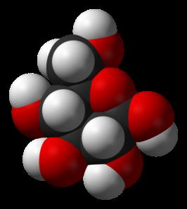 Model pengisi ruang molekul glukosa