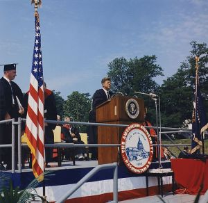 Kennedy delivers the commencement speech at American University, June 10, 1963