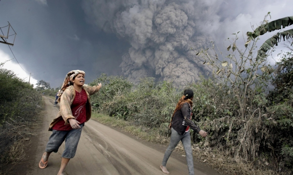 Indonesia is vulnerable to volcanic eruptions, such as this one on the island of Sumatra