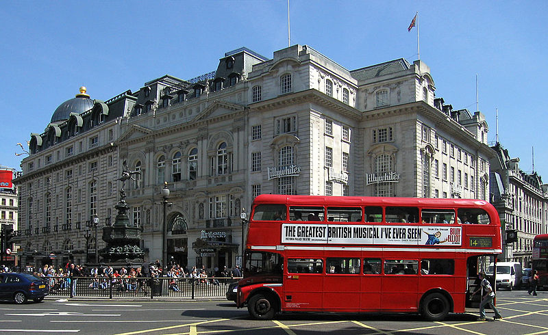 The red double-decker bus is an iconic symbol of London