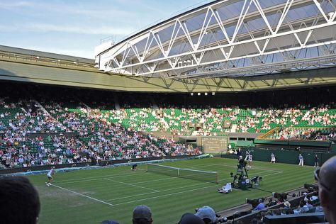 Centre Court at the All England Club hosting a Wimbledon Championships match in 2010.
