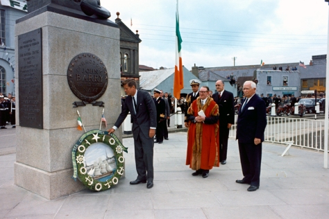 John F. Kennedy visiting the John Barry Memorial at Crescent Quay in Wexford, Ireland.