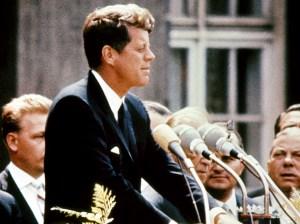 Kennedy delivering his speech in Berlin