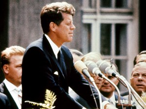 Kennedy delivering his speech in Berlin