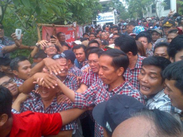 Suasana di posko pemenangan Jokowi di Jalan Borobudur 22