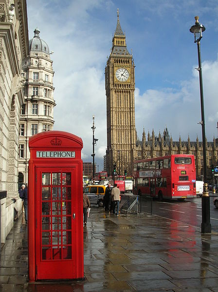 Three icons: Big Ben clock tower with a red telephone box and London double-decker bus in front