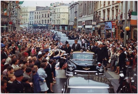 President Kennedy in motorcade in Patrick Street, Cork, in Ireland on June 28, 1963