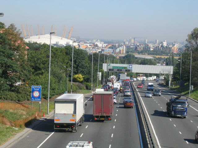 The A102, near Greenwich. This was one of the few routes proposed in the Ringways Plan within Inner London to be built.