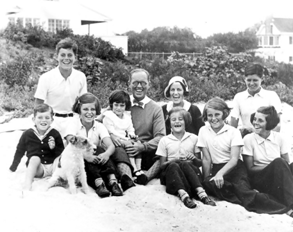 Kennedy family at Hyannisport in 1931 with Jack at top left in white shirt