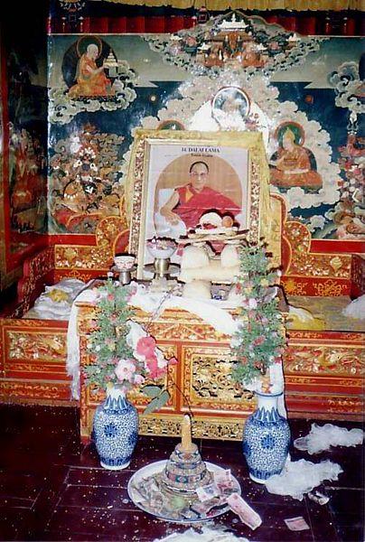 Throne awaiting Dalai Lama's return. Summer residence of 13th Dalai Lama, Nechung, Tibet.