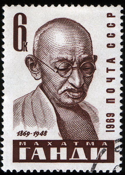 Mahatma Gandhi on a 1969 postage stamp of the Soviet Union