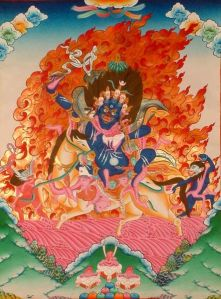 Palden Lhamo, the female guardian spirit of the sacred lake, Lhamo La-tso, who promised Gendun Drup the 1st Dalai Lama in one of his visions that