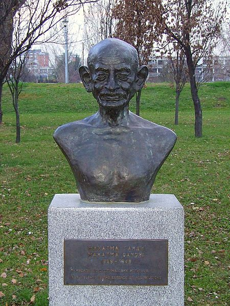 Monument to M.K. Gandhi in New Belgrade, Serbia. On the monument is written