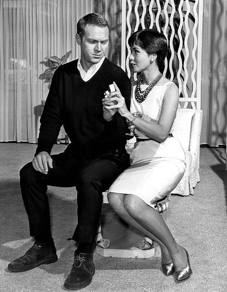 McQueen and then-wife Neile Adams in the