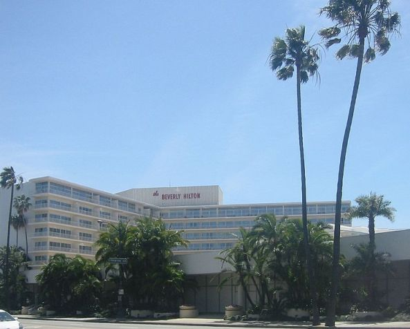 The Beverly Hilton Hotel, where Houston's body was found.