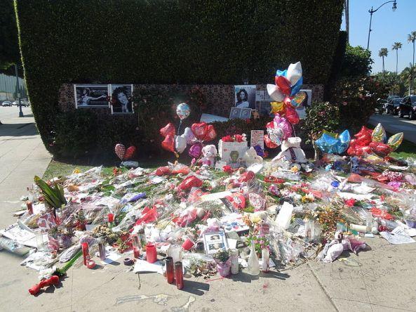 Flowers near the Beverly Hilton Hotel.