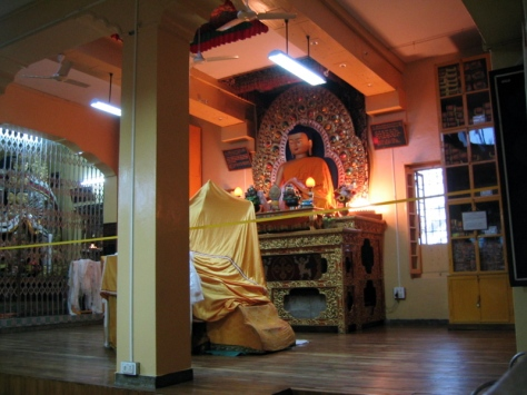The main teaching room of the Dalai Lama in Dharamshala, India