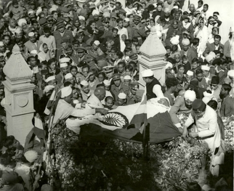 Funeral procession of Gandhi at New Delhi on 6 February 1948