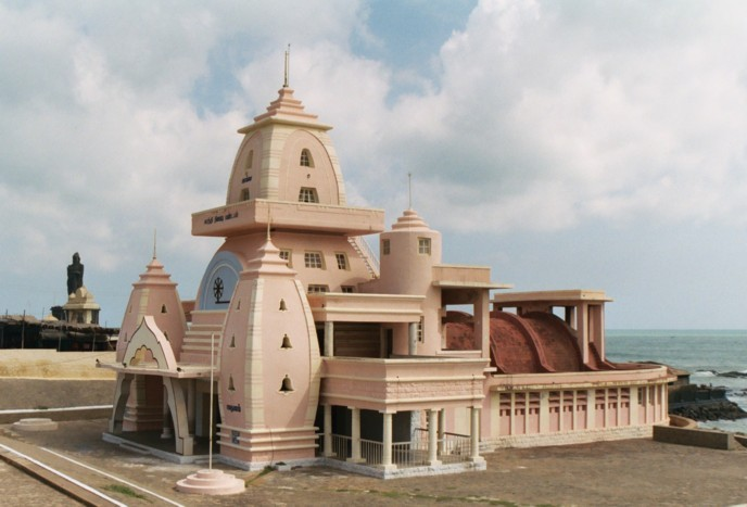 The Gandhi Mandapam, a temple in Kanyakumari, Tamil Nadu in India. This temple was erected to honour M.K. Gandhi.