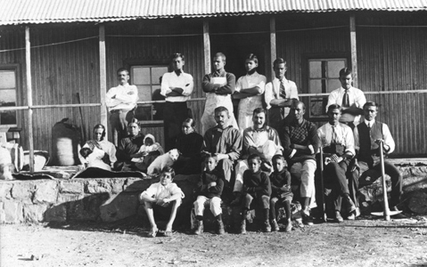 Mohandas K. Gandhi and other residents of Tolstoy Farm, South Africa, 1910