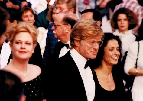 Redford with Melanie Griffith and Sônia Braga, promoting The Milagro Beanfield War at the 1988 Cannes Film Festival