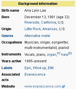 AmyLee2003BillboardAwards Background Info