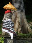 At religious festivals on Bali the sculptures get dressed up and umbrellas are placed by the temples.
