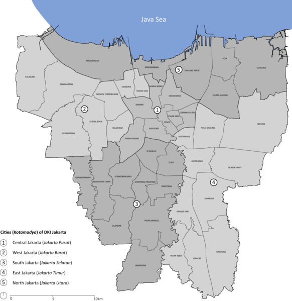 Map of the municipalities (kotamadya) in Jakarta province. Each city is divided into subdistricts (kecamatan).