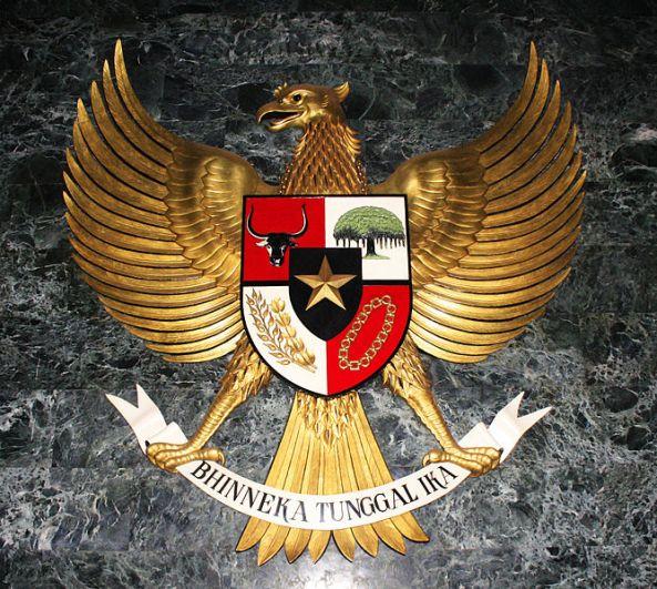 Patung besar Garuda Pancasila, terpasang di Ruang Kemerdekaan Monas, Jakarta.