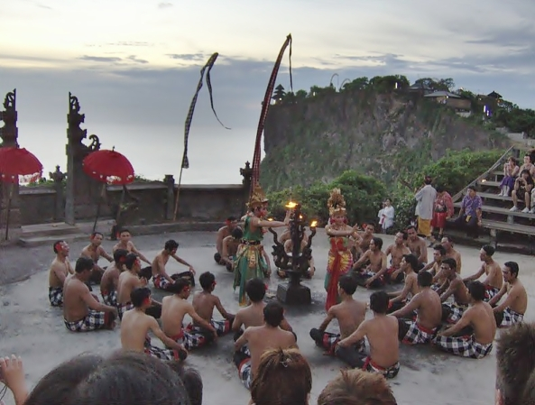 A Kecak dance being performed at Uluwatu, in Bali