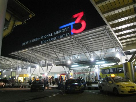 Front view of Soekarno-Hatta International Airport Terminal 3.