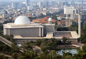 Istiqlal Mosque, Jakarta with Cathedral in the background.