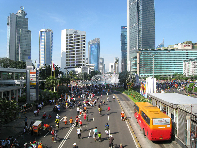 Jakarta pedestrians, joggers and bicyclists take over the main avenue during Car-Free Day.