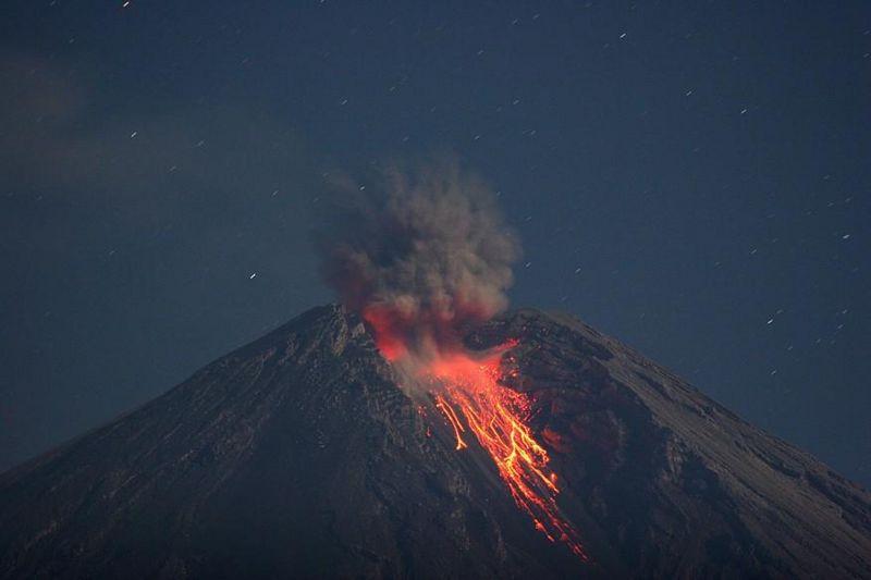 Mount Semeru erupting in 2004
