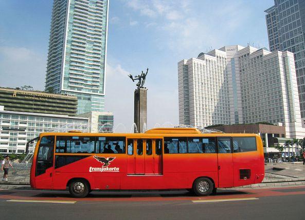 A TransJakarta bus. TransJakarta has the world's longest bus rapid transit routes.