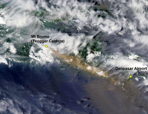NASA MODIS satellite image showing Bromo ash drifting over Denpasar on 27 January 2011, sourced through the Australian Bureau of Meteorology. January 2011. Click Image to View Full Size Image