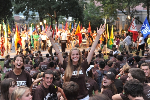 Students gather for an activity outside University Center at Lehigh University.