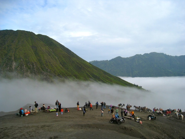 Fog covering the Sea of Sand. Mt. Batok on the Left