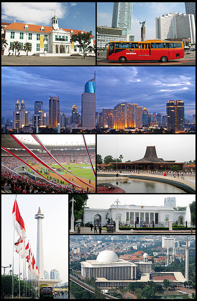 (From top, left to right): Jakarta Old Town, Hotel Indonesia Roundabout, Jakarta Skyline, Gelora Bung Karno Stadium, Taman Mini Indonesia Indah, Monumen Nasional, Merdeka Palace, Istiqlal Mosque