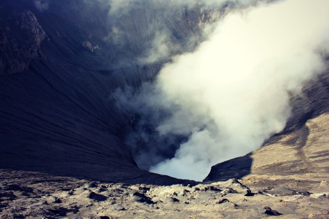 Staring into the mouth of Mount Bromo.