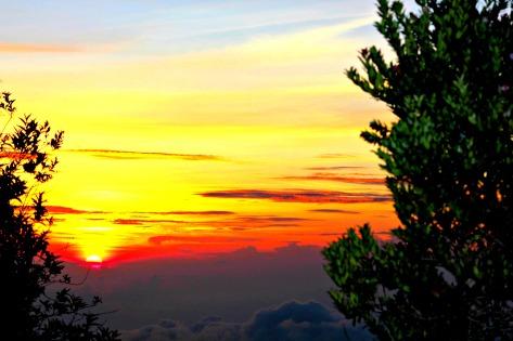 The sun rising next to mount Bromo.