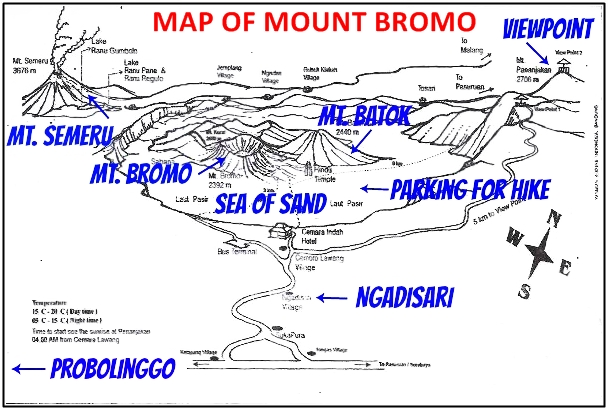 Map Mt. Bromo w Probolinggo