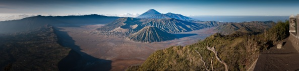 Panoramic view of Mount Bromo from the edge of Segara Wedi (