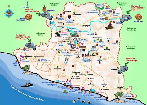 Peta dan Rute Wisata Pantai Gunungkidul