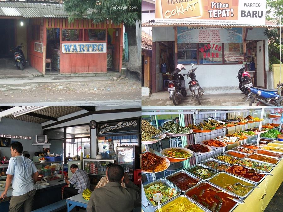 Typical Low-budget Javanese Warteg (Warung Tegal) Foodstalls